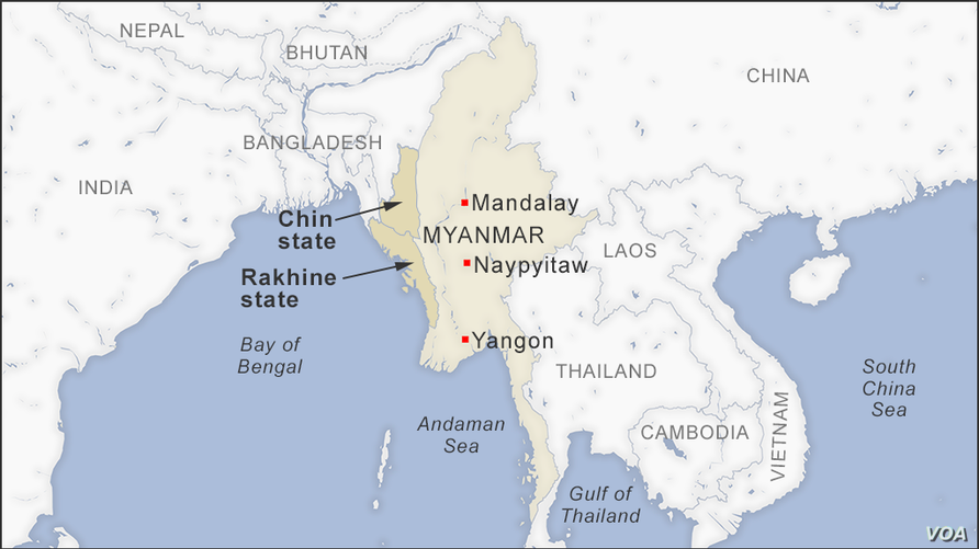 Map of Rakhine and Chin states, Myanmar
