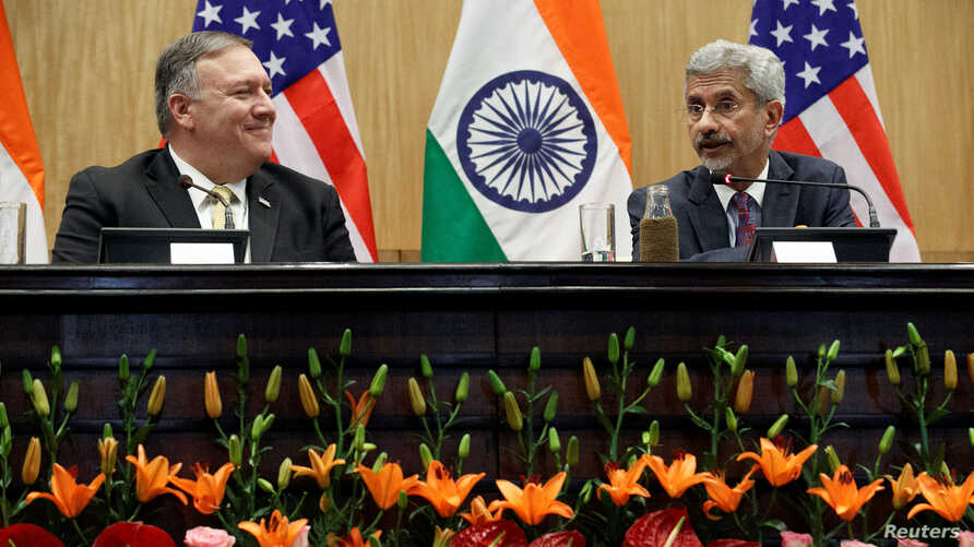 US Secretary of State Mike Pompeo listens to Indian Foreign Minister Subrahmanyam Jaishankar during a news conference at the Foreign Ministry in New Delhi, India, June 26, 2019.