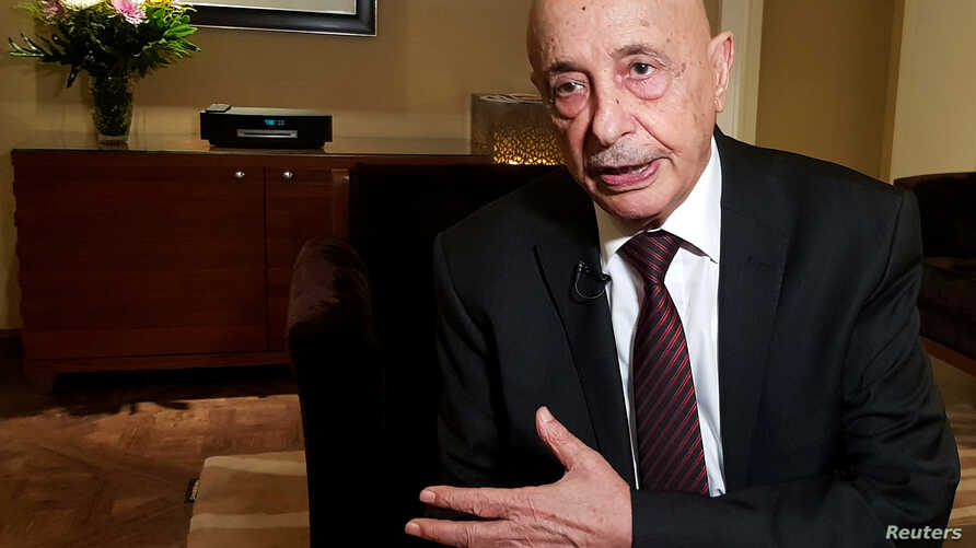Aguila Saleh, Head of East Libya Parliament, speaks during an interview with Reuters in Cairo, Egypt, June 12, 2019.