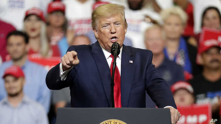 President Donald Trump speaks to supporters where he formally announced his 2020 re-election bid, June 18, 2019, in Orlando, Fla.