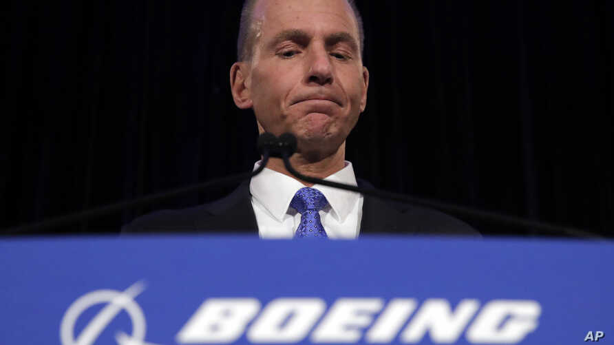 Boeing CEO Dennis Muilenburg speaks during a news conference after the company's annual shareholders meeting at the Field Museum in Chicago, Illinois, April 29, 2019.