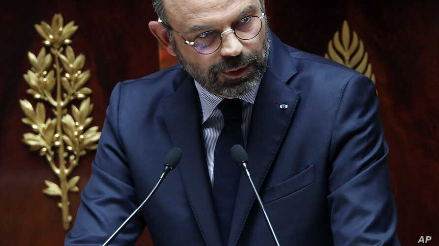 France's Prime Minister Edouard Philippe delivers a speech at the National Assembly, in Paris, June 12, 2019.