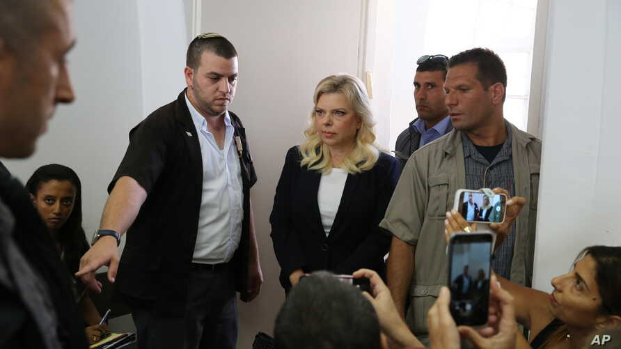 Wife of the Israeli Prime Minister Benjamin Netanyahu, Sara, enters a courtroom in Jerusalem, Oct. 7, 2018.