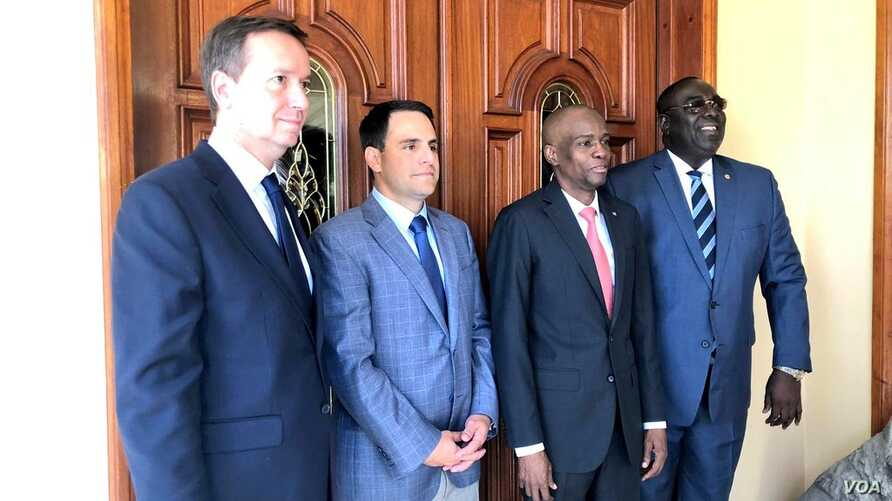 OAS Permanent Council Chair, US Ambassador Carlos Trujillo, Gonzalo Koncke, chief of staff for OAS Secretary General Luis Almagro, President Jovenel Moise and Foreign Minister Bocchit Edmond.