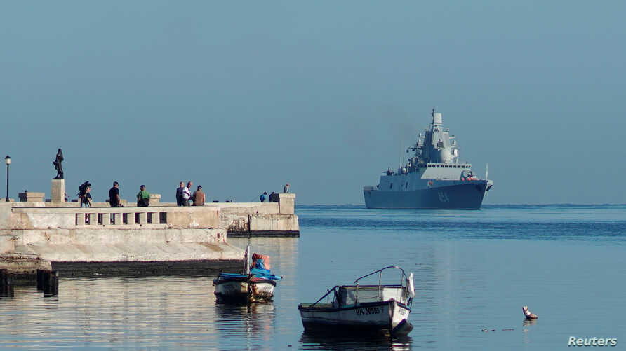 Russian guided missile frigate Admiral Gorshkov enters Havana's bay, Cuba, June 24, 2019.