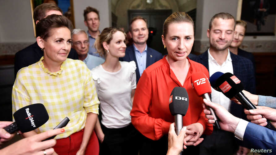 Pia Olsen Dyhr of the The Socialist People's Party, Pernille Skipper of The Red-Green Alliance, Mette Frederiksen of The Danish Social Democrats and Morten Oestergaard of The Social Liberal Party address the press, June 25, 2019.