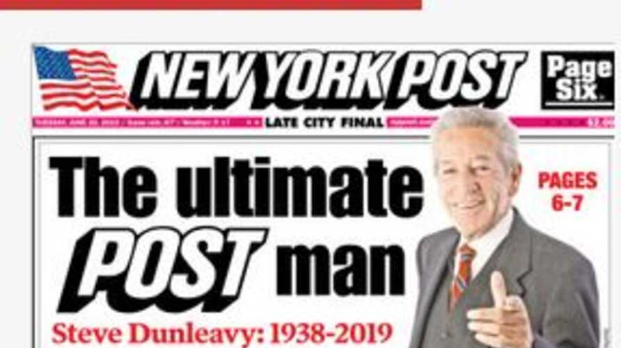 A screenshot from The New York Post's Web site showing obituary of it's columnist Steve Dunleavy, who died Monday night at his home on Long Island, Tuesday, June 25, 2019. (Courtsey NY Post site)