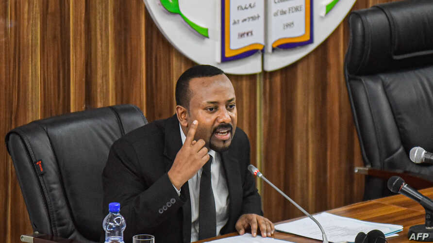 FILE - Ethiopia's Prime Minister Abiy Ahmed addresses national and regional issues after the recent regional coup attempt at the parliament in Addis Ababa, July 1, 2019.