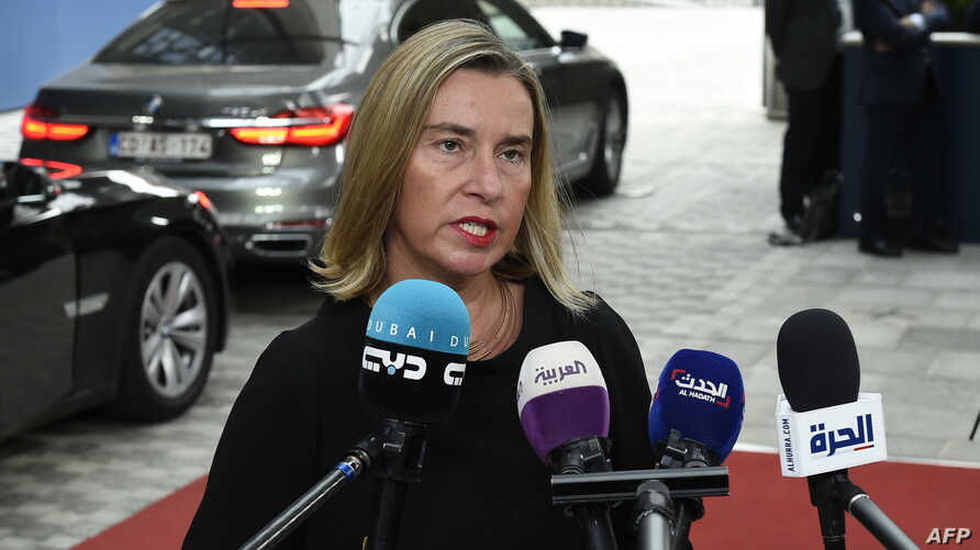 European Union for Foreign Affairs and Security Policy Federica Mogherini answers journalists' questions during a Foreign Affairs meeting at the EU headquarters in Brussels, July 15, 2019.