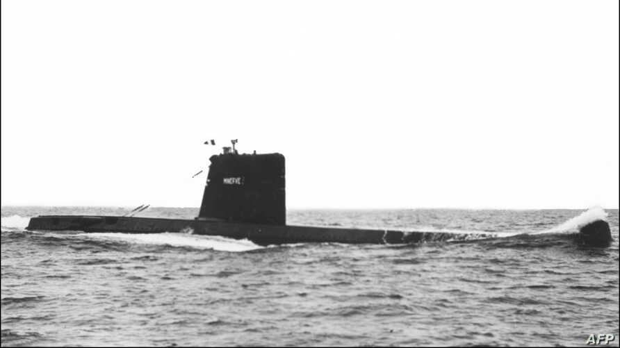 FILE - An undated photograph shows the Minerve, a French submarine seen at sea during a military exercise.