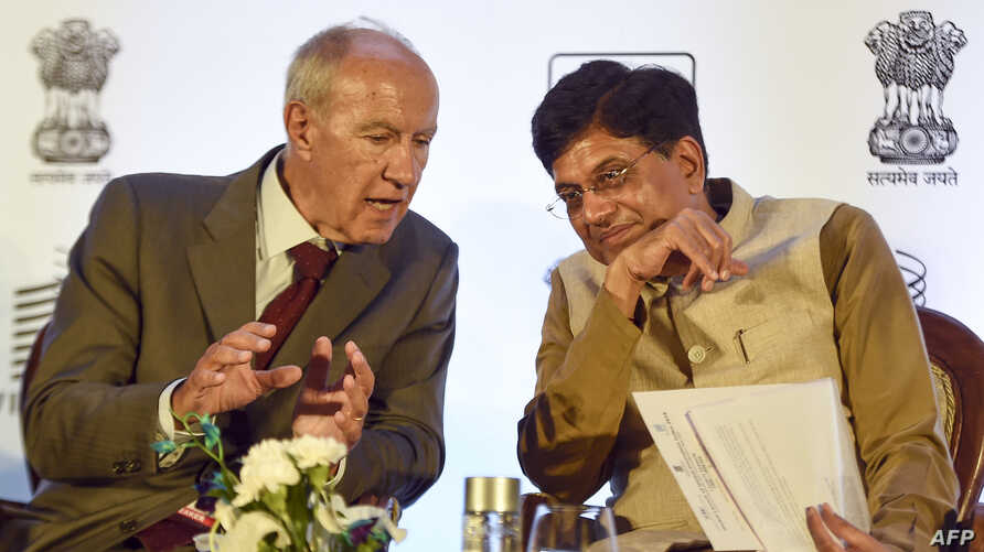 Indian Minister of Commerce and Industry and Minister of Railways Piyush Goyal, right, and Director General World Intellectual Property Organization Francis Gurry talk during the release of the Global Innovation Index 2019 report during an event in New Delhi, July 24, 2019.