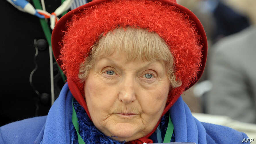 FILE - Eva Mozes Kor, a twin who survived medical experiments at the Nazi Auschwitz death camp, attends ceremonies marking 65 years since the camp was liberated, in Oswiecim, Jan. 27, 2010.