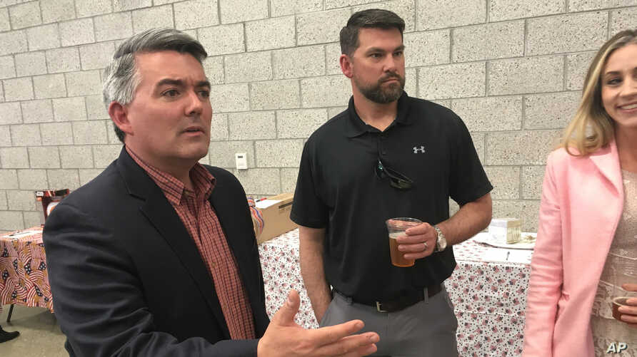 FILE - Sen. Cory Gardner, R-Colo., attends the Alamosa County Republicans Lincoln Day dinner in Alamosa, Colo., on April 24, 2019.
