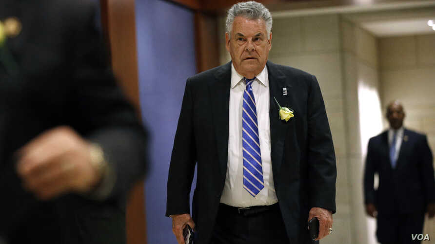 FILE - Rep. Peter King, R-N.Y., arrives for a classified briefing on Capitol Hill in Washington, May 21, 2019.