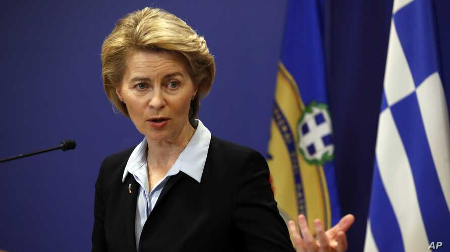 FILE - German Minister of Defense Ursula von der Leyen speaks in Athens, March 5, 2019.