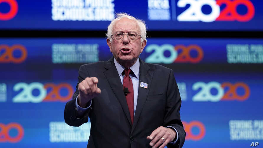 Democratic presidential candidate Sen. Bernie Sanders, I-Vt., speaks during the National Education Association Strong Public Schools Presidential Forum, July 5, 2019, in Houston, Texas.