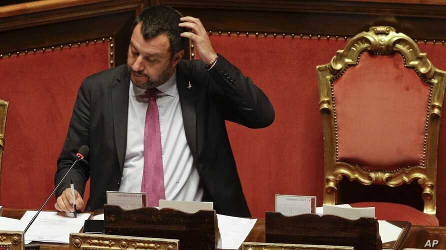 Italian Deputy-Premier and Interior Minister Matteo Salvini addresses the Senate in Rome, July 11, 2019.
