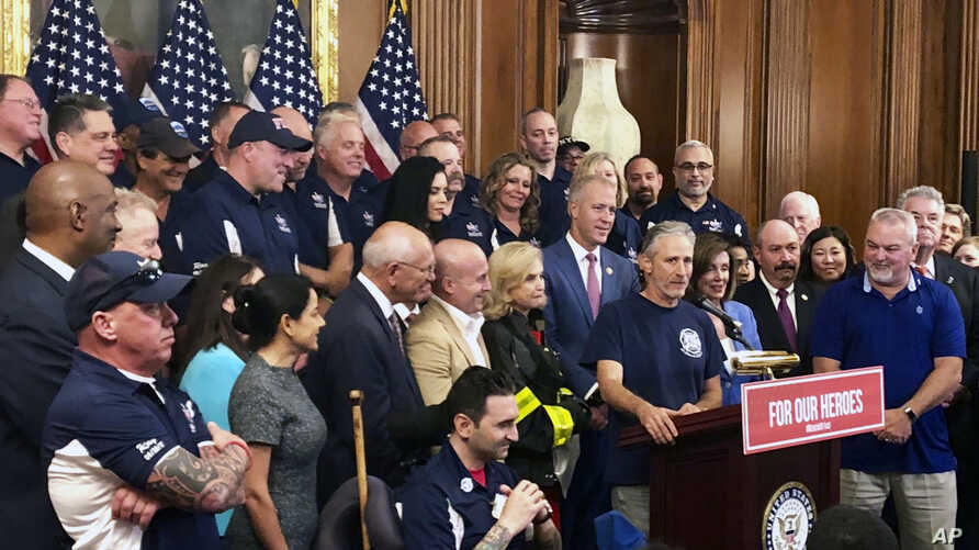 Entertainer and activist Jon Stewart, speaks at a news conference on behalf of 9/11 victims and families, July 12, 2019, at the Capitol in Washington.
