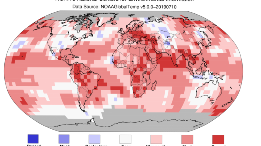 June 2019 Blended Land and Sea Surface Temperature Percentiles. (NOAA)