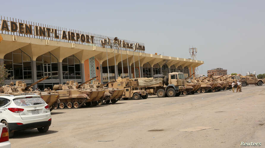 FILE - UAE military vehicles are seen at the international airport of the southern port city of Aden, Yemen.