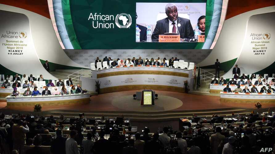 Chairperson of the African Union Commission Moussa Faki Mahamat delivers a speech during the African Union (AU) summit at the Palais des Congres in Niamey, Niger, July 7, 2019.