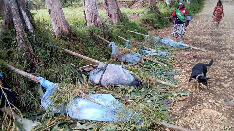 This handout photo taken on July 9, 2019, and obtained from the Department Of Health, Hela Province in Papua New Guinea, shows dead bodies lined up on a road in Hela province, following a spike in tribal violence.