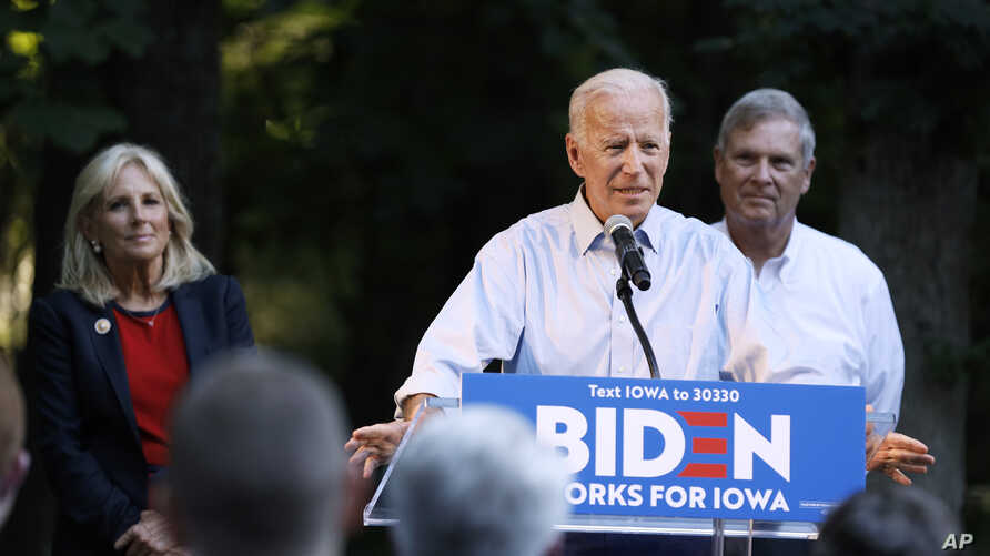 Former Vice President and Democratic presidential candidate Joe Biden speaks during a house party at former Agriculture Secretary Tom Vilsack's house, July 15, 2019, in Waukee, Iowa.