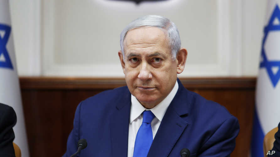 Israel's Prime Minister Benjamin Netanyahu attends the weekly cabinet meeting in Jerusalem, July 14, 2019.