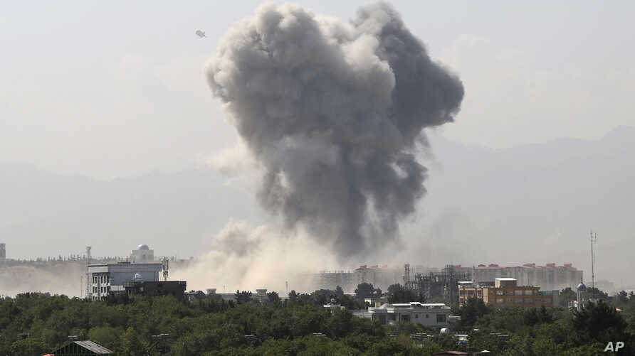 Smoke rises after an explosion in Kabul, Afghanistan, July 1, 2019.