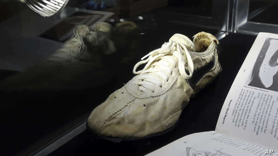 "A Nike ""Moon Shoe"" is on display at Sotheby's auction house in New York, July 12, 2019."