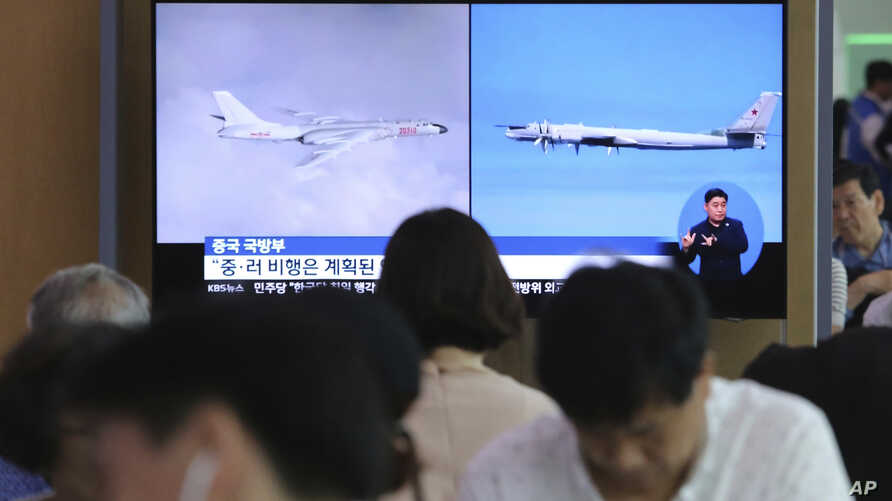 South Korea Russia Warning Shots Download Comp Cancel Apply Back to search results 2 of 39 results South Korea Russia Warning Shots      Overview     Download now  People watch a TV showing images of Russian Tu-95 bomber and Chinese H-6 bomber, left, during a news program at the Seoul Railway Station in Seoul, South Korea, July 24, 2019.
