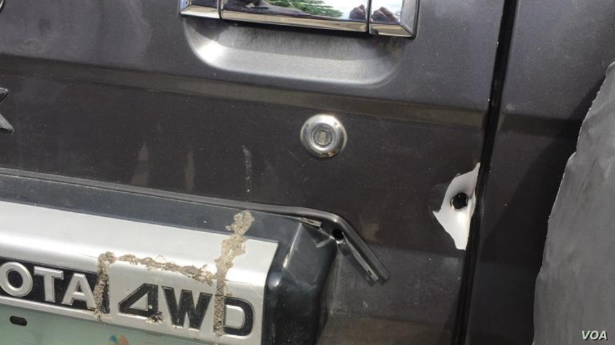 Damaged caused by bullets fired on Haitian Deputy Printemps Belizaire's car Saturday afternoon, July 6, 2019 (Photos by Matiado