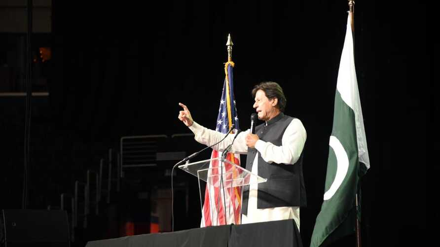 Pakistani Prime Minister Imran Khan addresses Pakistani Americans at Capital One Arena in Washington, July 21, 2019. (Source - Prime Minster Khan's press service)
