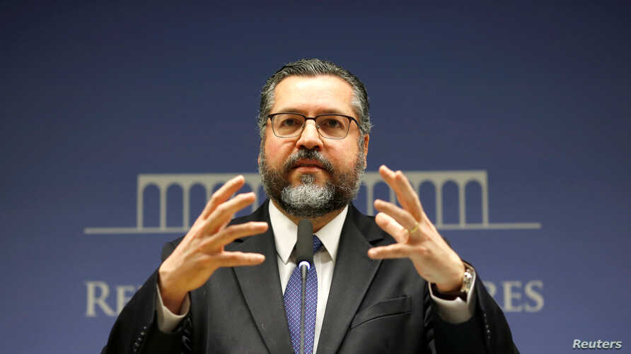 Brazil's Foreign Minister Ernesto Araujo gestures during a news conference at the Itamaraty Palace in Brasilia, Brazil, July 2, 2019.