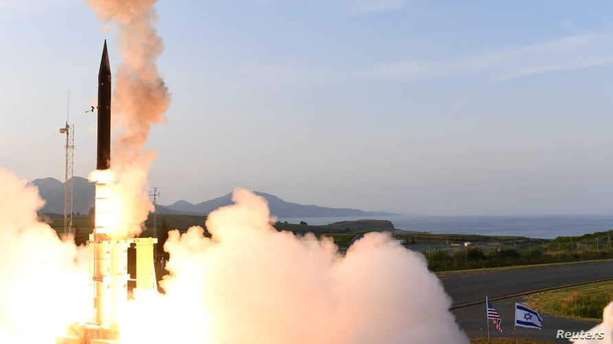 Israel's U.S.-backed Arrow-3 ballistic missile shield is seen during a series of live interception tests over Alaska, July 28, 2019. (Courtesy: Israel Ministry of Defense)