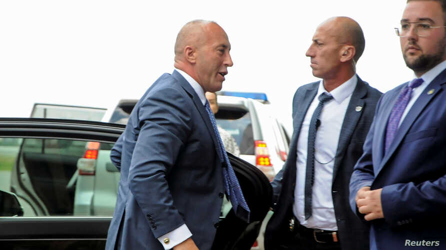 Kosovo's former Prime Minister Ramush Haradinaj arrives at Pristina Airport after being called to The Hague war crimes court regarding Kosovo's violent independence struggle in Pristina, Kosovo, July 23, 2019.