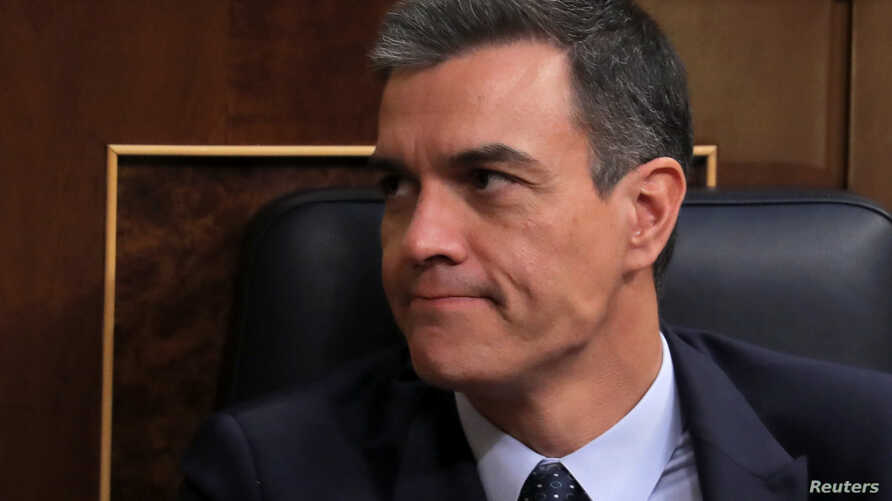 Spain's acting Prime Minister Pedro Sanchez reacts during the second day of the investiture debate at the Parliament in Madrid, Spain, July 23, 2019.