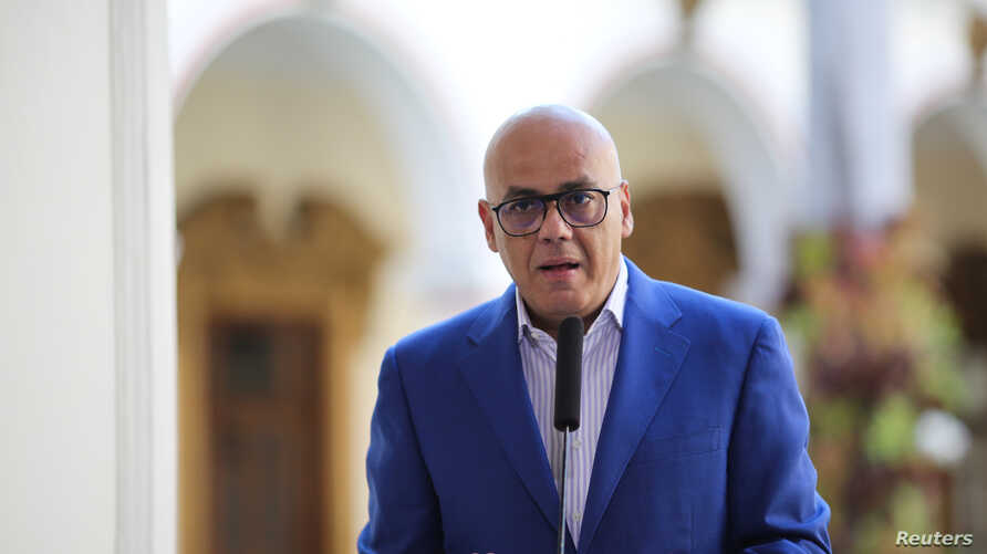 Venezuela's Communications and Information Minister Jorge Rodriguez speaks during a broadcast at the Miraflores Palace in Caracas, Venezuela, March 25, 2019.