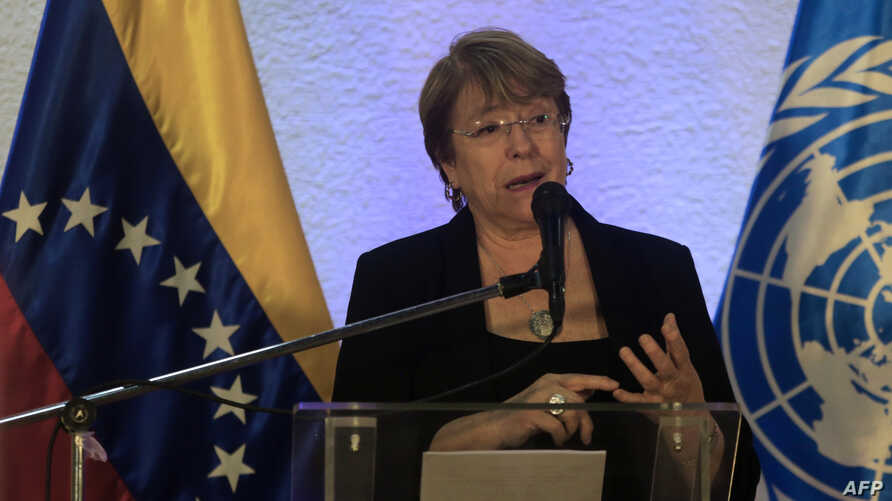 FILE - U.N. High Commissioner for Human Rights, Michelle Bachelet, speaks during a press conference in Caracas, June 21, 2019.