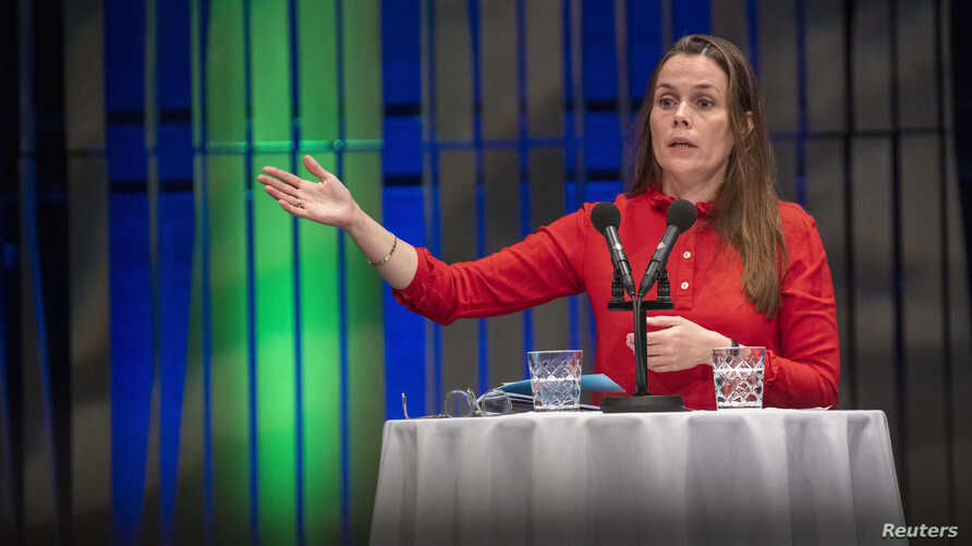 Iceland's prime minister Katrin Jakobsdottir speaks during a meeting with Nordic CEO's, part of the annual summer meeting of the Nordic heads of government in Reykjavik on Aug. 20, 2019.