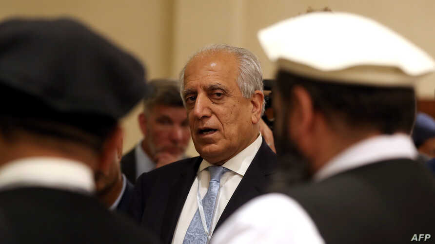 FILE - U.S. Special Representative for Afghanistan Reconciliation Zalmay Khalilzad attends the Intra Afghan Dialogue talks in the Qatari capital, Doha, July 8, 2019. The ninth round of talks in the yearlong dialogue process began Thursday in Doha.