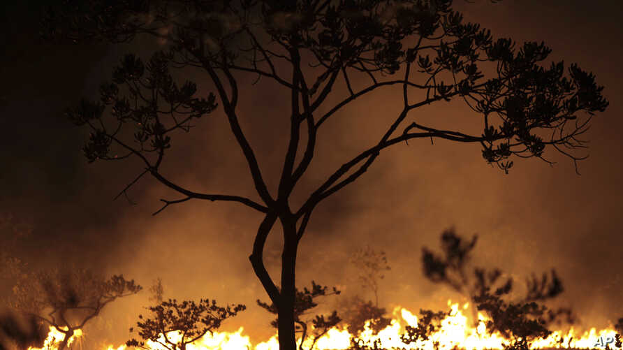 A fire burns in the Chapada dos Veadeiros National Park in Goias state, Brazil, Oct. 28, 2017.