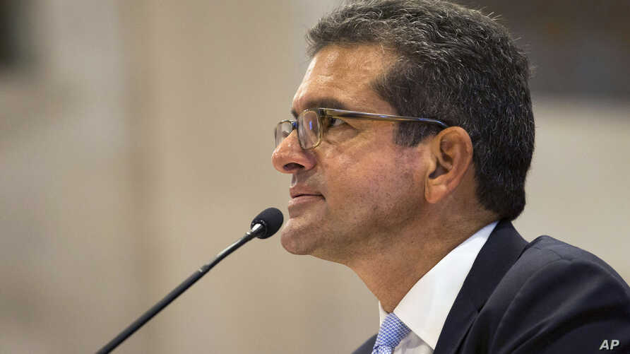 Proposed Secretary of State Pedro Pierluisi attends his confirmation hearing at the House of Representatives, in San Juan, Puerto Rico, Aug. 2, 2019.