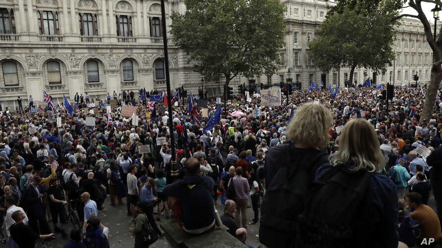 Anti-Brexit supporters gather outside the Prime Minister's residence 10 Downing Street in London, Wednesday, Aug. 28, 2019.