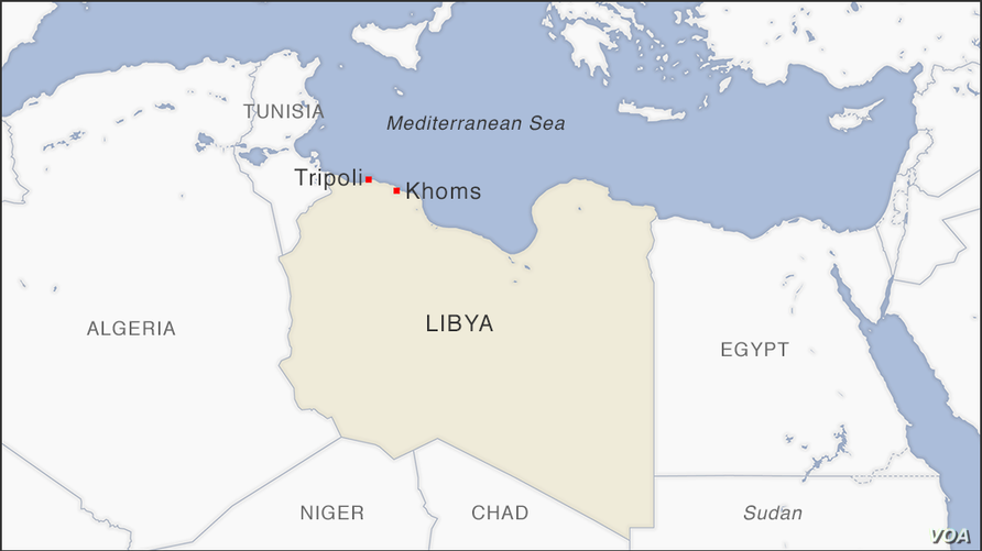 Map of Khoms, Libya