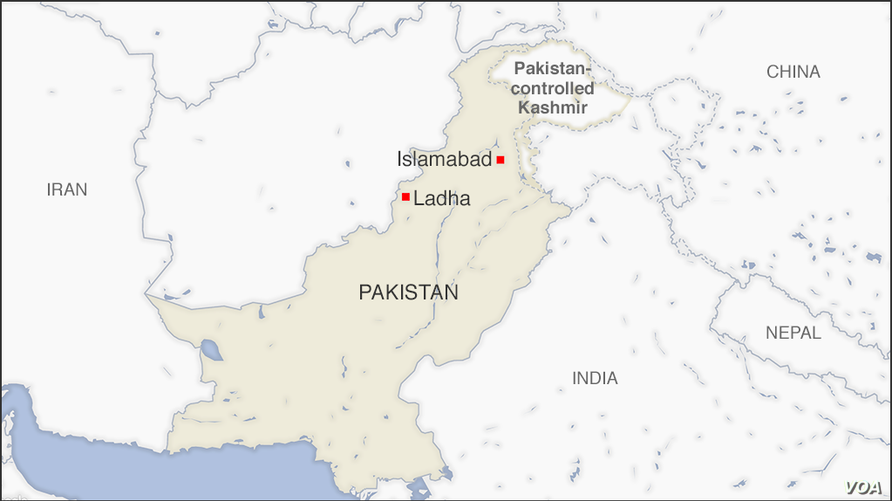 Map of Ladha, Pakistan