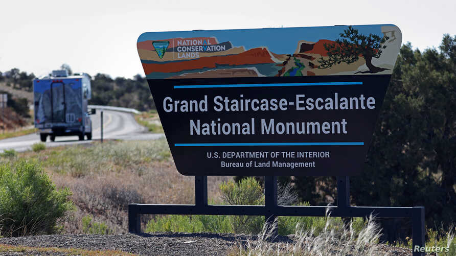 FILE - The entrance to Grand Staircase-Escalante National Monument is seen outside of Escalante, Utah, May 17, 2017.