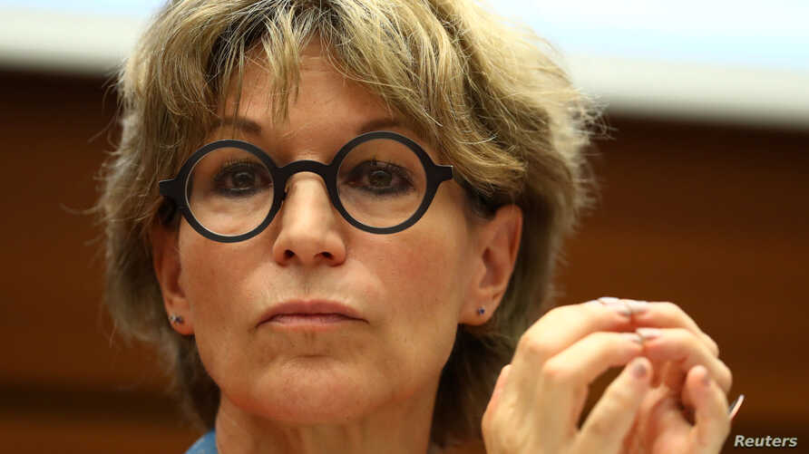 """Agnes Callamard, U.N. special rapporteur on extrajudicial executions,  takes part in a side event called """"Silencing Dissident"""" during the Human Rights Council in Geneva, Switzerland, June 25, 2019."""