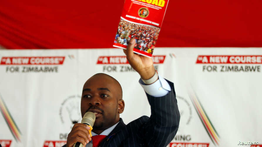 FILE - Opposition leader Nelson Chamisa gestures while addressing a rally of his Movement for Democratic Change (MDC) party in Harare, Zimbabwe, July 11, 2019.