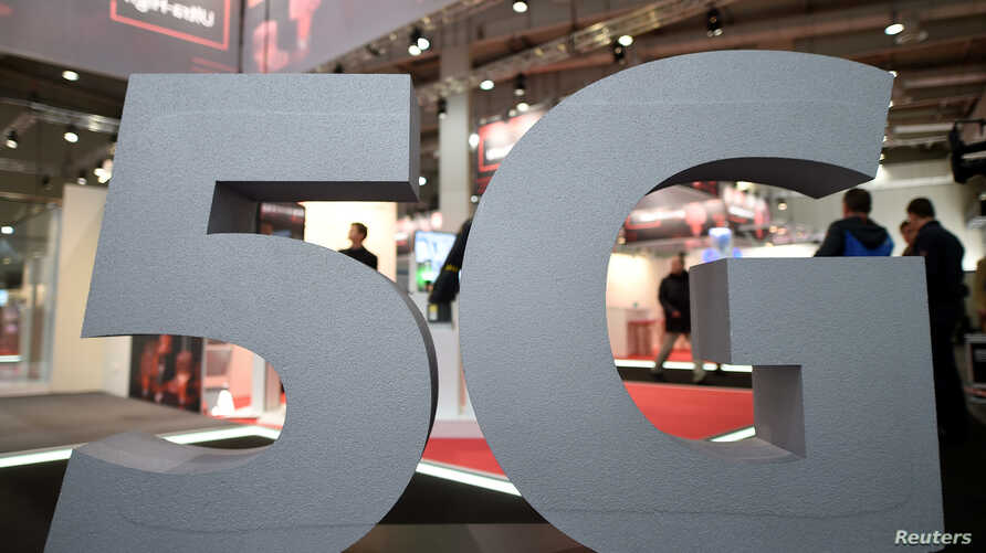 FILE - A logo of the upcoming mobile standard 5G is pictured in Hanover, Germany March 31, 2019.